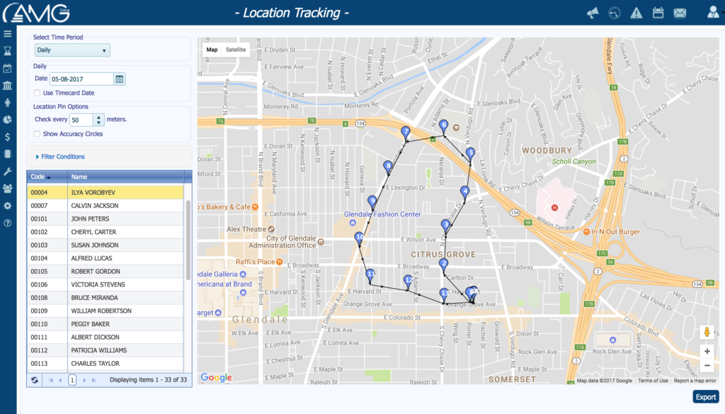 AMGtime GPS Workforce Tracking Module for Mobile Apps