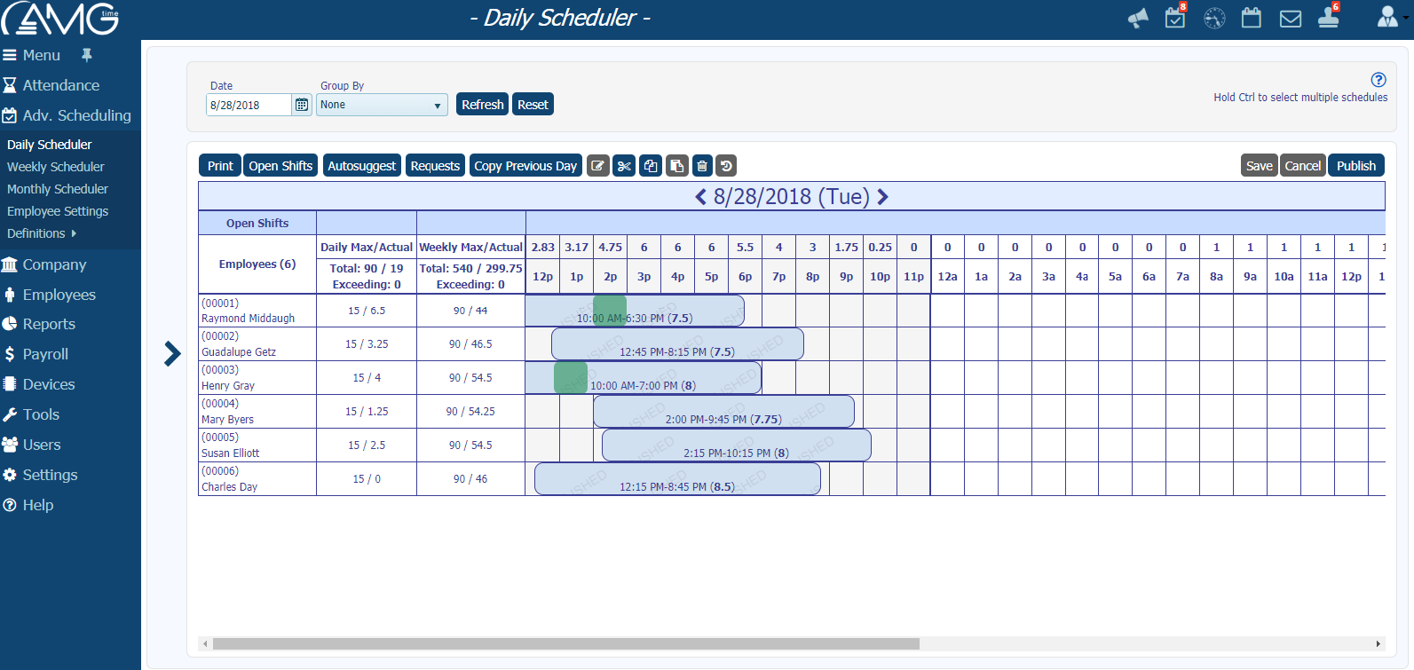 AMGtime Workforce Scheduling Daily View