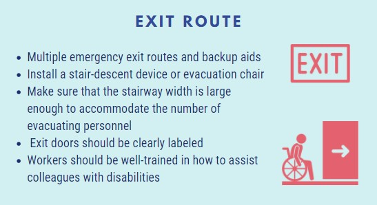 emergency exit routes and backup aids